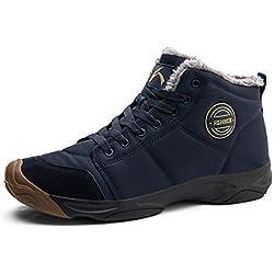 Axcone Chaussures Homme Femme Bottes Hiver imperméable Neige Randonnee Chaudement Chaudes Fourrure Baskets Bottines - 6118 Cyan 42EU