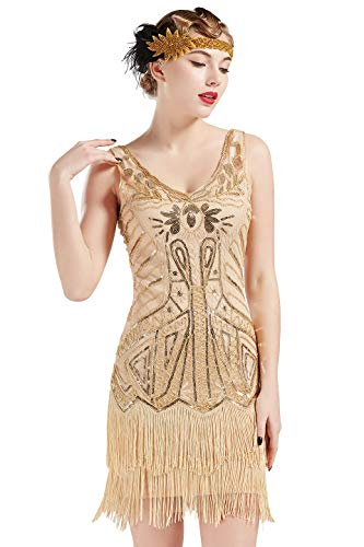 ArtiDeco Damen Kleid Retro 1920er Stil Flapper Kleider mit Zwei Schichten Troddel V Ausschnitt Great Gatsby Motto Party Kleider Damen Kostüm Kleid (Champagner Gold, S (Fits 74-78 cm Waist)) (Cocktail Party Kostüm)