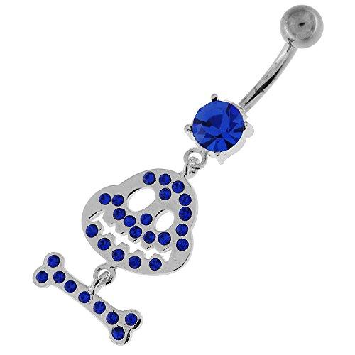 Fantaisie Multi Jeweled M. Jack avec OS pendantes en argent 925 avec acier inox Belly Bleu foncé