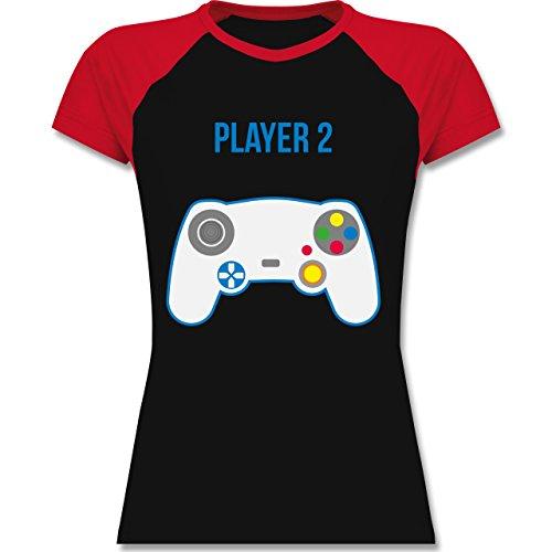Shirtracer Partner-Look Familie Mama - Player 2 - Zweifarbiges Baseballshirt/Raglan T-Shirt für Damen Schwarz/Rot