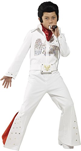 Elvis Kostüm Weiß mit Overall und Schal, Medium