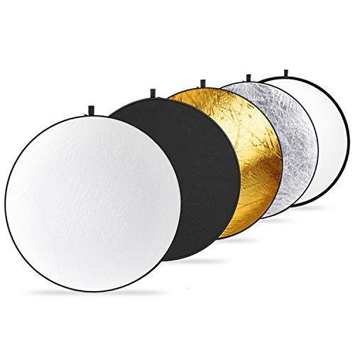 Neewer Runde 5-in-1 zusammenklappbar Multi-Scheibe Licht Reflektor 50cm mit Tragetasche - Translucent Silber Gold Weiß und Schwarz für Studio oder Jede Fotografie Situation -