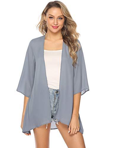 c0a594f5e47c3d Abollria Damen Chiffon Kimono Cardigan Elegante Leichte Sommerjacke 3/4 Arm  Casual Strand Cover Up