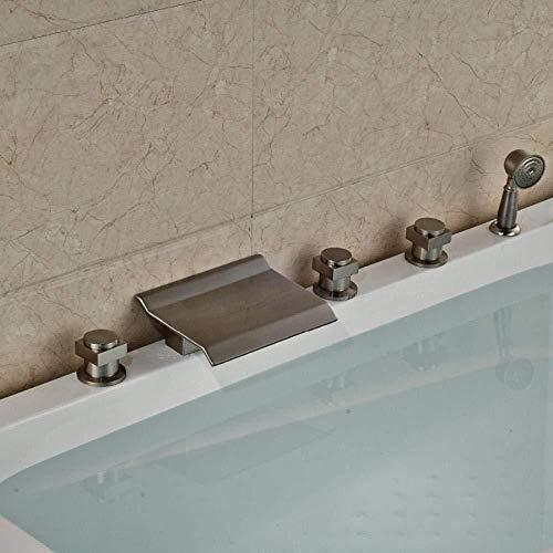 GHJGFGH Deck Montiert Wasserfall Auslauf Gebürstetem Nickel Badewanne Wasserhahn Mit Handbrause