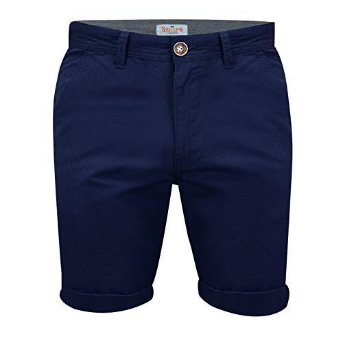 STALLION LONDON Herren Chino Shorts: Kurze Hose Bermuda Cargo für männer aus 100% Baumwolle Regular Sommer Fit (34, Navyblau)
