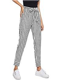 3acada7c96db SOLY HUX Damen Gestreift elastischer Bund Freizeithose 7 8 Hosen mit Taschen