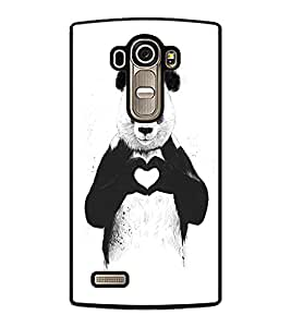 PrintDhaba Bear with Heart D-1469 Back Case Cover for LG G4 (Multi-Coloured)