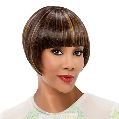 FBGood 28cm Damen Braun Kurze BOB Glatt Perücken, Frauen Natürliche Synthetische Haar Lace Front Perücke mit Flach Pony für Cosplay Girls Party Täglichen Gebrauch -