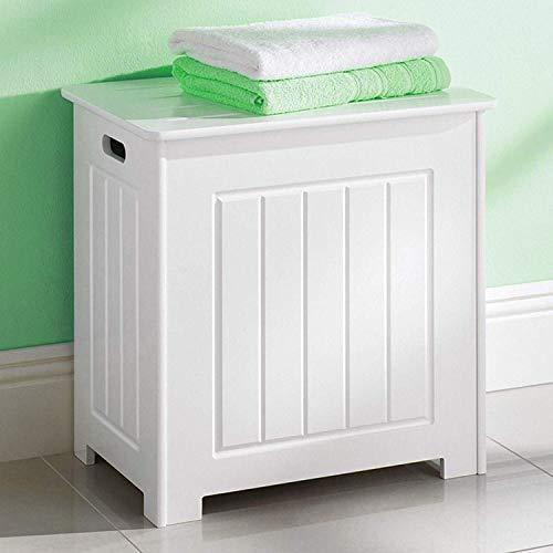 Blanco Cesta Ropa Almacenamiento de Madera en el pecho con tapa cesta para la colada papelera de baño tronco Independiente para armario grande 90L
