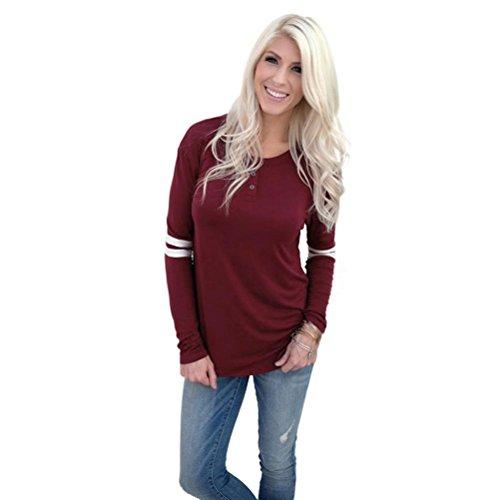 BHYDRY Frauen Lose Lange Ärmel Button Rundhals Splice Pullover Shirt Bluse Top Shirt(XL,Rot)