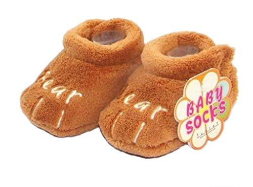 Smile YKK Bébé Chaussure Peluche Chaud Souple Pantoufles Velours Pour Enfant 0-12 mois Marron