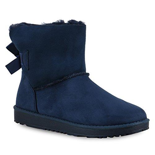 Warm Gefütterte Damen Stiefeletten Glitzer Stiefel Schlupfstiefel Boots Dunkelblau Schleife