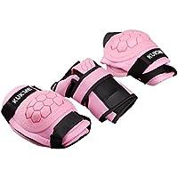 Skyrocket Los niños de hielo Gear Protective Gear rodilla y codo muñequeras almohadillas para niños (color rosa/negro/naranja)