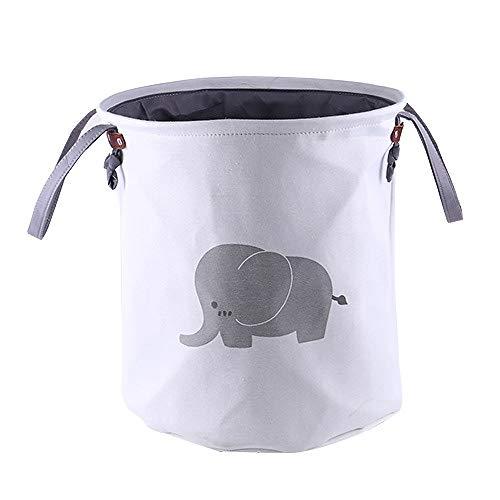 Dtower cesto della biancheria pieghevole cestino di tela di cotone corda decorativa cestino lavanderia, stanza dei bambini della scuola materna, camera da letto (elefante),bianca,34 * 40cm