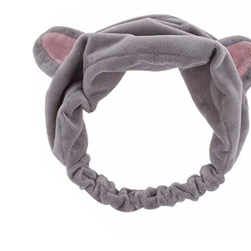 Nette Frauen Stirnbänder Katze Ohr elastisches Haar Band Dusche Wäsche Haar Band Kopfbedeckungen Grau