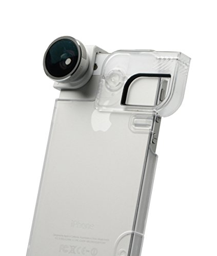 olloclip 4-in-1 Photo Lens for iPhone 5/5s + Quick-Flip Case + Pro-Photo Adapter (Silver Lens/White Clip/Clear Case) OCEU-IPH5-FW2M-SW-C Silver Lens/White Clip/Clear Case