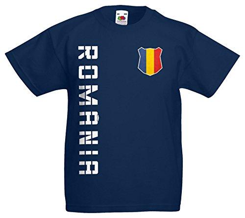 AkyTEX Rumänien România Kinder EM 2016 T-Shirt Trikot Name Nummer (Navyblau, 152)