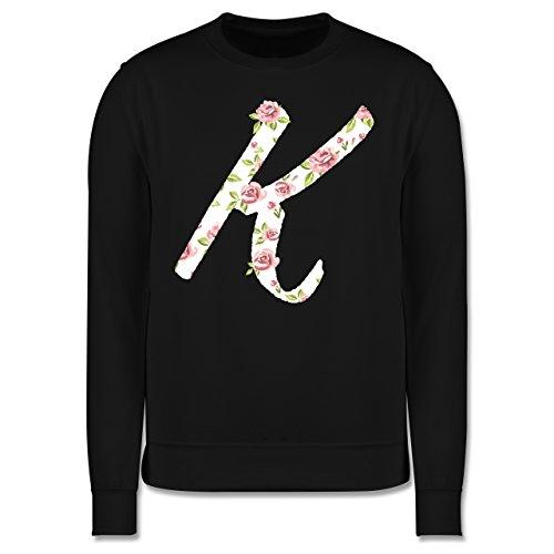 Anfangsbuchstaben - K Rosen - Herren Premium Pullover Schwarz