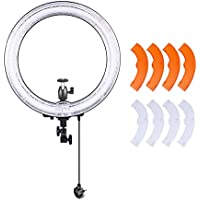 Neewer Photography Ring Fluorescent Flash Light Kit, Includes(1)18inch Outer 14inch Inner 75W 5500K Ring Light+(1)Color Filter Set(White,Yellow)+(1)Mini Ball Head and Hot Shoe Adapter Camera Cradle