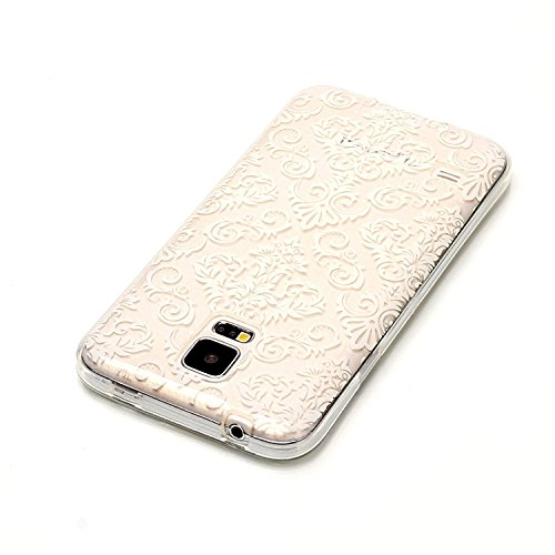 Vandot Samsung Galaxy S5 I9600 Coque de Protection Etui Transparent Antidérapant Pour Samsung Galaxy S5 I9600 Etui Protection Dorsale Étui Slim Invisible Housse Cover Case en TPU Gel Silicone Hull She C-Fleurs Blanches