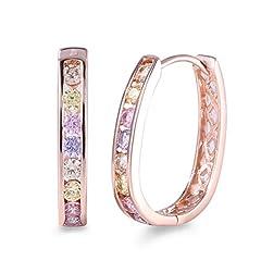 Idea Regalo - GULICX - Orecchini a cerchio, in oro rosa, con cristalli, da donna, con zirconi colorati