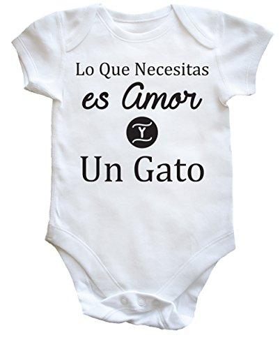 HippoWarehouse Lo Que Necesitas es Amor Y Un Gato body bodys pijama niños niñas unisex