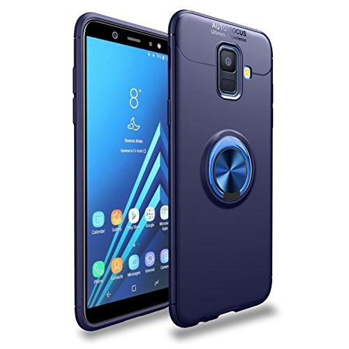 Shinyzone Samsung Galaxy A6 2018 Hülle,Blau mit 360 Grad Drehbarer Ring Ständer,Ultra Dünn Weich TPU Stoßfest Schutzhülle Kompatibel mit Magnetischer Autohalterung (Chat Vedio)