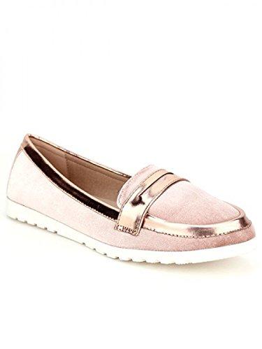 Cendriyon, Mocassin Color Rose FDM poudré Chaussures Femme Rose