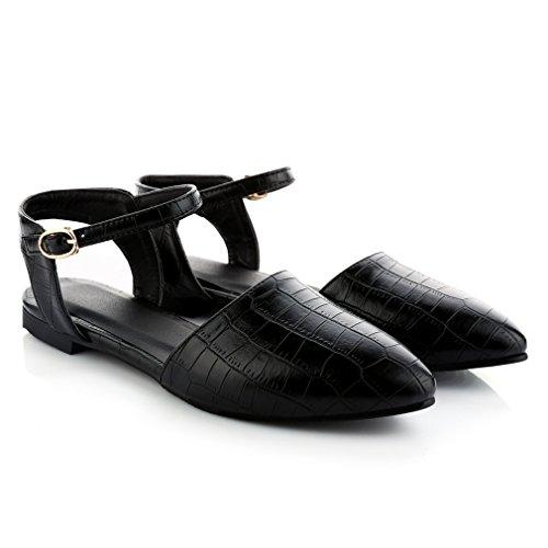 YE Damen Flache Ankle Strap Spitze Pumps mit Riemchen ohne Absatz Bequem Schuhe Schwarz