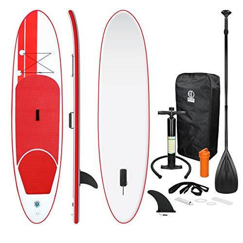 ECD Germany Tavola Gonfiabile Paddle Board Stand Up (SUP)-308 x 76 x 10 cm - Rosso - Diversi Modelli Pagaia in alluminio/PVC - Include Pompa Borsa da trasporto e Accessori - Tavola Paddle Surf (SUP)