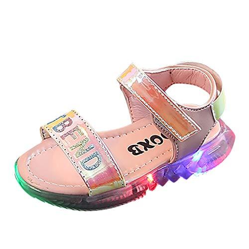 Baby Shoes Abstand Unisex-Kinder LED Sneakers Mode Blinkschuhe Low-Top Casual Outdoor Sneakers Laufschuhe Sportschuhe Hallenschuhe für Jungen und Mädchen Größe 21-30 (Mädchen Schuhe Abstand)