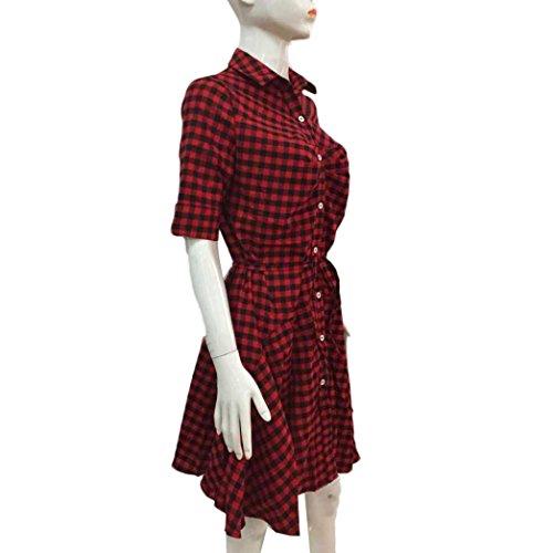 Femmes Sexy Robe, OverDose Robe Courte CintréE à La Taille à Carreaux Button Casual Mini Dress Rouge