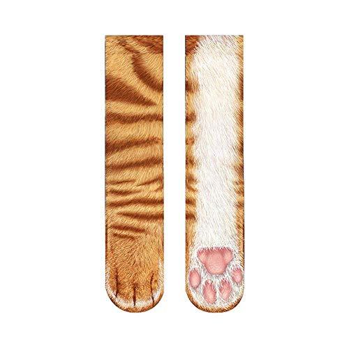 dressfan Orange Katzendruck Socken Unisex Erwachsene 3D-Druck für Cosplay Kostüm Orange Gestreifte Katzensocken Orange Katze Socken Damen - Katze Pferd Kostüm