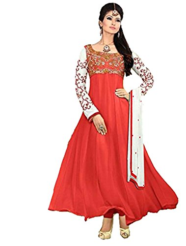 Clickedia Women's Heavy Georgette Semi-stitched Red Embroidered Floor Length Anarkali Suit - Dress Material  available at amazon for Rs.399