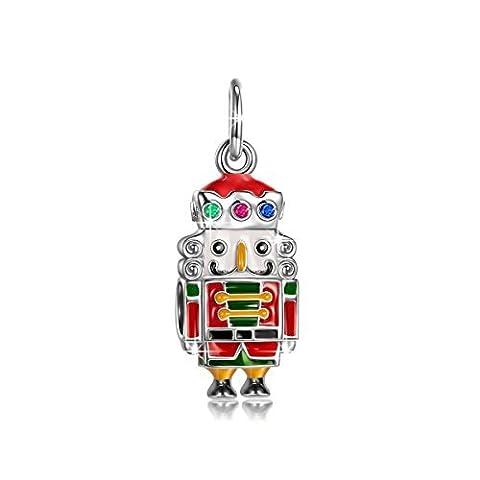 Ninaqueen [le Casse-noisette–Kings] Argent sterling 925Adorable Dangle Charms avec zircones multicolores