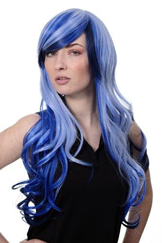 WIG ME UP ® - 2307-2217YE Peluca mujer calidad cosplay largo ondulado partido rayado azul Emo