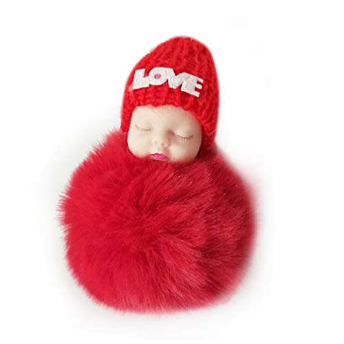 Cute Sleeping Baby Doll Keychain Soft Fur Doll Pendant Car Bag Charm Keyring red Soft-attache