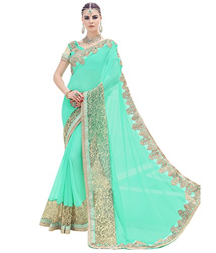 DesiButik\'s Magnificent Cyan Heavy Georgette And Net Saree