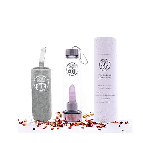 Premium Edelstahl und Glas Trinkflasche 500 ml mit Rosenquarz zur Wasserbelebung - Edelsteinwasser für zuhause und mitnehmen - Perfekte Wasserflasche zum nachfüllen (Rosenquarz) (Rosenquarz)