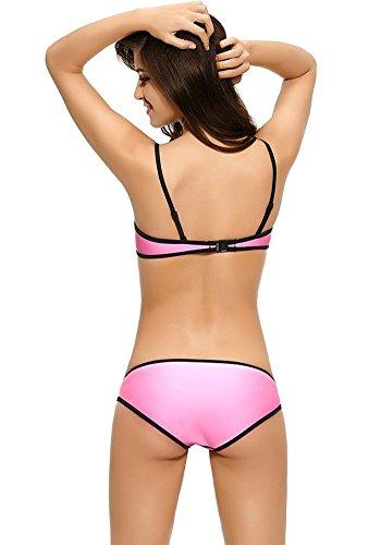 Botobkn Donne a Mosaico in Neoprene Costume Bikini Pink