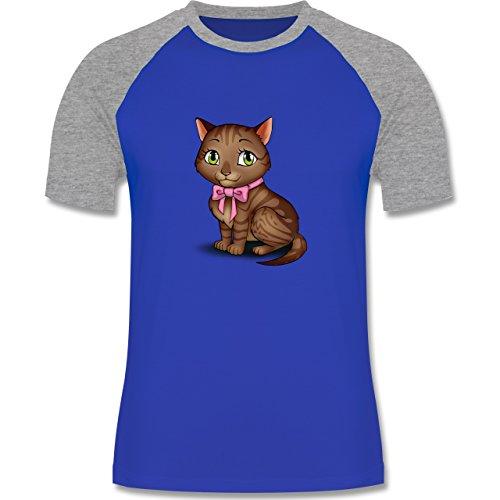 Katzen - Kätzchen mit Schleife - zweifarbiges Baseballshirt für Männer Royalblau/Grau meliert