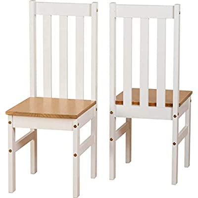 Seconique Ludlow Dining Set - White and Oak - Dining Table and 4 Slatted, Highback Chairs