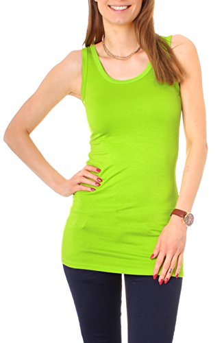 Easy Young Fashion Damen Basic Träger Longtop One Size Apfel