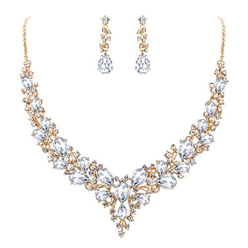 Clearine Damen Hochzeit Braut Österreichen Kristall Tropfen Cluster Statement Halskette Dangle Ohrringe Schmuck Set Klar Gold-Ton