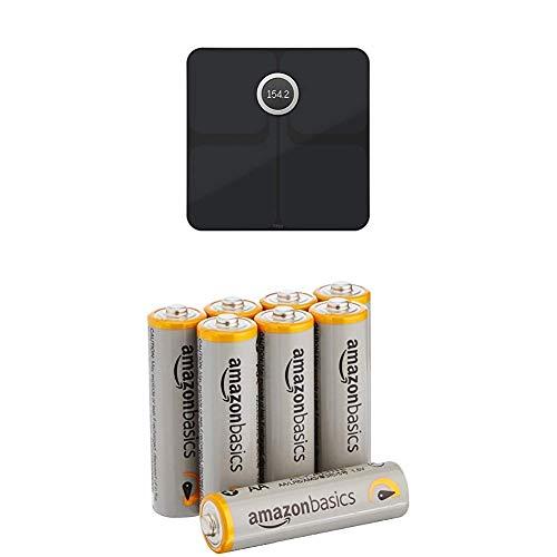 Fitbit Aria 2 Intelligente WLAN-Waage, Black, OneSize mit AmazonBasics Batterien