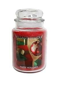 Village Candle Lot de 3grandes Bougie de Noël–Collection hiver Wonderland, Happy Holidays, arbre de Noël