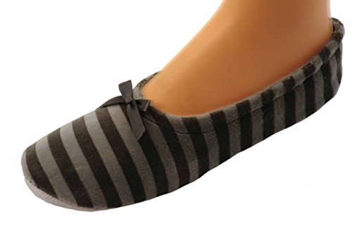 Damen Ballerinas Hausschuhe Ballettschuhe, Farben alle:grau geringelt;Größe:40/41
