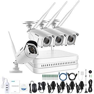 ANNKE WLAN Überwachungskamera Set 8CH 1080P Wireless NVR Recorder ohne Festplatte mit 4 * 1080P 2,0MP IP Überwachungskamera mit Nachsicht Funktion für Innen und Außen, Plug& Play Überwachungssystem