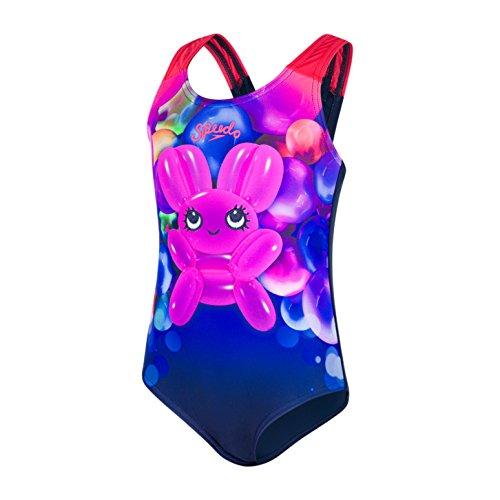 Speedo Baby Shimmer Bounce Essential Applique Einteiler Badeanzug, Navy/Post-It-Pink, 4 Years