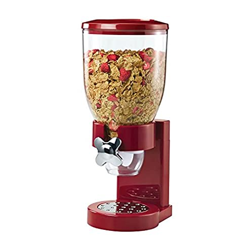 Zevro Single Plastic Classic Dry Food Dispenser Canister, Red/ Transparent